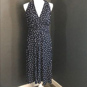 Evan Picone dark blue polka dot dress
